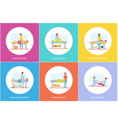 back and self hot stones massage icons set vector image