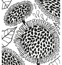 Background with doodling hand drawn sunflowers vector