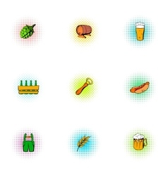 Barley drink icons set pop-art style vector