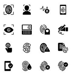 Biometric glyph icons vector