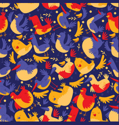 bird seamless pattern cartoon vector image