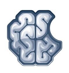 Bitten brain top view vector