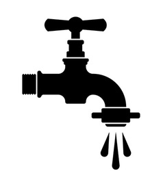 Black retro water faucet tap symbol vector