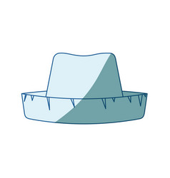 Blue shading silhouette of straw hat vector