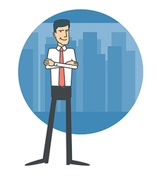 Businessman standing on the background of the city vector image