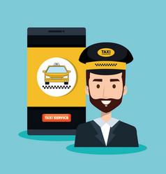 Call center driver taxi service app cartoon vector