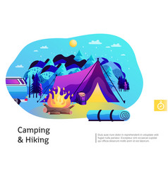 Camping hiking colorful vector