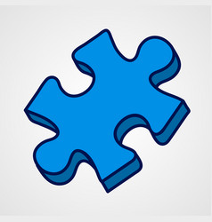 cartoon puzzle piece icon blue variant vector image