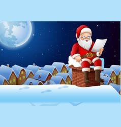 Cartoon santa claus sitting at chimney and reading vector
