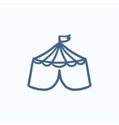 Circus tent sketch icon vector