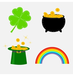 Clover leaf pot with money green hat and rainbow vector image vector image