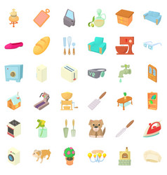 Comfortable rest icons set cartoon style vector