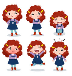 Curly red hair girl showing different emotions vector