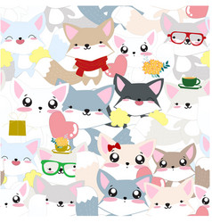cute baby colorful ceebrated fox seamless pattern vector image