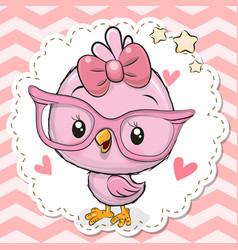 Cute bird in pink eyeglasses vector