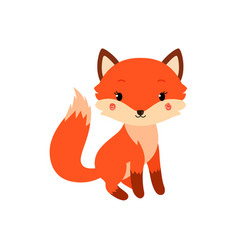 Cute cartoon fox in modern simple flat style vector