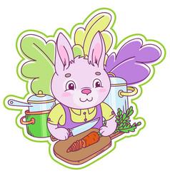 Cute little rabbit cutting a fresh carrot vector