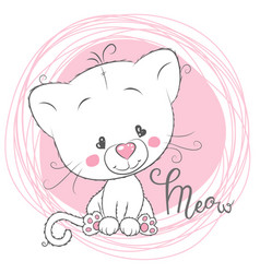 Cute white kitten on a pink background vector