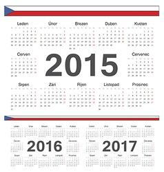Czech circle calendars 2015 2016 2017 vector image