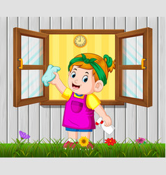 daily activity girl cleaning the window vector image