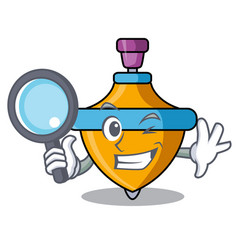Detective spinning top character cartoon vector