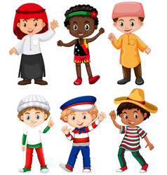 different nationalities of boys vector image