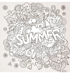 Doodles abstract decorative summer background vector image