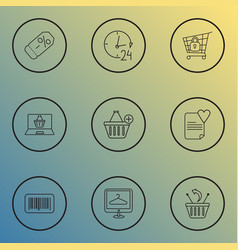 Ecommerce icons line style set with 24 hour vector