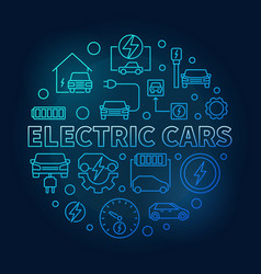electric cars round blue in vector image