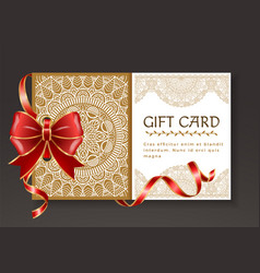 festive postcard with red ribbon and bow vector image