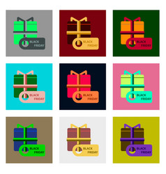 Flat assembly icons of gift box black friday vector