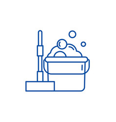 Floor cleaning line icon concept floor cleaning vector