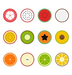Fruit icon set flat design slice half vector image