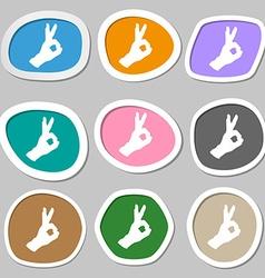 Gesture ok symbols Multicolored paper stickers vector image