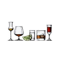glasses goblets set vector image