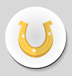 golden horseshoe for good luck sticker icon flat vector image