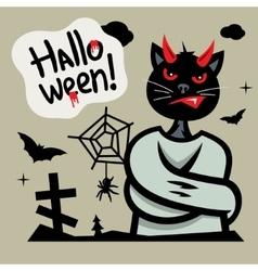 Halloween Devil Cat in straitjacket Cartoon vector image
