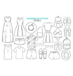 hand drawn summer wardrobe elements set vector image