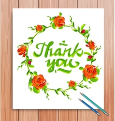 hand drawn thank you card typography vector image