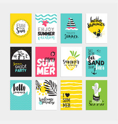 Hand drawn watercolor summer cards and bannerh vector
