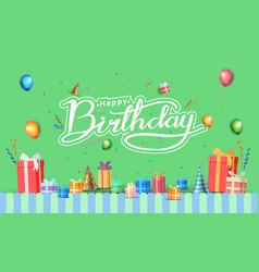 Happy birthday typography white color vector