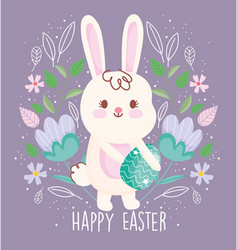 Happy easter cute rabbit carrying egg flowers vector