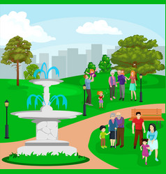 happy family in park with fountain boys and girls vector image
