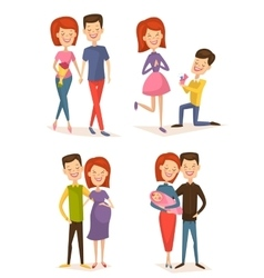 Happy young family couple set vector