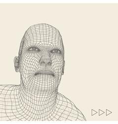 Head 3d Grid Geometric Face Design vector image