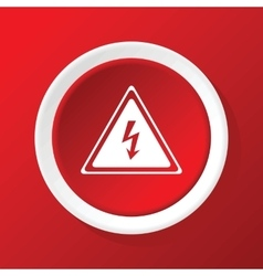 High voltage icon on red vector