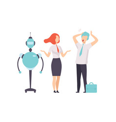 hiring people or robots android and man vector image