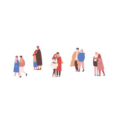 Hugging couples in warm clothes flat vector