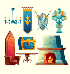 Interior objects for fantasy game design vector