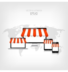 Internet shopping concept Realistic tablet vector